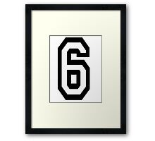 6, TEAM, SPORTS, NUMBER 6, SIX, SIXTH, Competition Framed Print