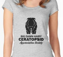 Big Damn Hairy Ceratopsid Appreciation Society (black on light) Women's Fitted Scoop T-Shirt