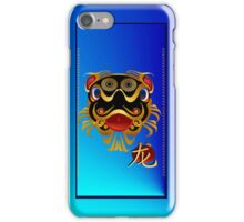 Black 'n Gold Chinese Dragon Face and Dragon Symbol iPhone Case/Skin