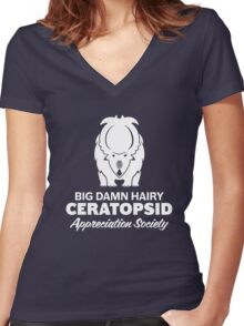 Big Damn Hairy Ceratopsid Appreciation Society (white on dark) Women's Fitted V-Neck T-Shirt