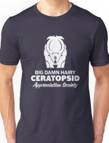 Big Damn Hairy Ceratopsid Appreciation Society (white on dark) T-Shirt