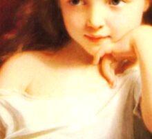 Girl Holding Doll (Vintage ART) Sticker