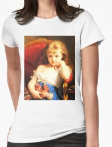 Girl Holding Doll (Vintage ART) Womens Fitted T-Shirt