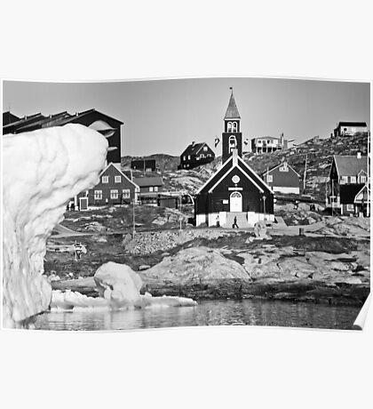 Greenland - Ilulissat church among the icebergs Poster