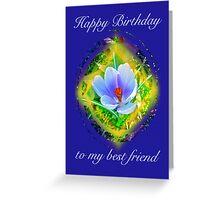 Best Friend Birthday Card - Crocus Floral Greeting Card