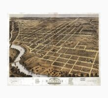Panoramic Maps Bird's eye view of the city of Danville Vermillion County Illinois 1869 Kids Tee