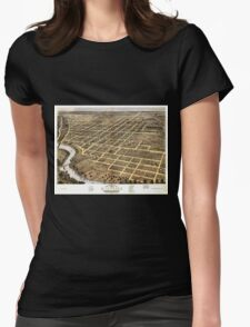 Panoramic Maps Bird's eye view of the city of Danville Vermillion County Illinois 1869 Womens Fitted T-Shirt