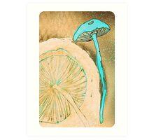 Blue Mushrooms Art Print