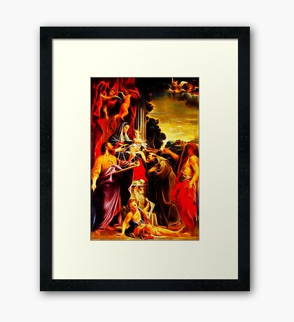 Madonna Enthroned with Saint Matthew Framed Print