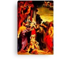 Madonna Enthroned with Saint Matthew Canvas Print