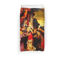 Madonna Enthroned with Saint Matthew Duvet Cover