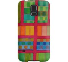 Red Grid with Checks and vertical Stripes Samsung Galaxy Case/Skin