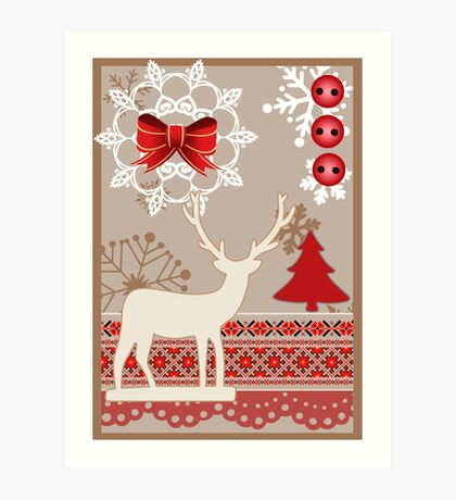 vector Christmas card in scrapbooking style Art Print