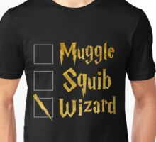 Harry Potter: Muggle, Squib, Wizard! Unisex T-Shirt