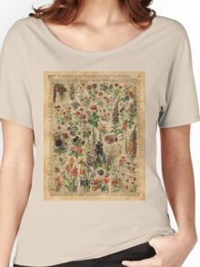 Colourful Wild Meadow Flowers Over Vintage Dictionary Book Page Women's Relaxed Fit T-Shirt