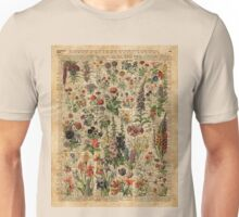 Colourful Wild Meadow Flowers Over Vintage Dictionary Book Page Unisex T-Shirt