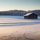Barn in winter landscape II by MikkoEevert