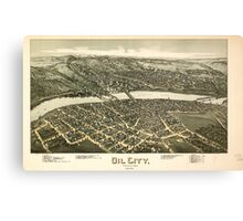 Panoramic Maps Oil City Pennsylvania 1896 Canvas Print
