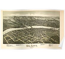Panoramic Maps Oil City Pennsylvania 1896 Poster