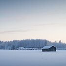 Barn in winter landscape III by MikkoEevert