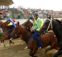 horse's race in Tuscan village (italy) by bertipictures