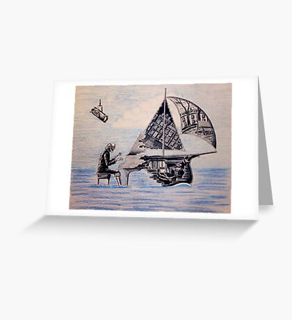 Pianist surreal pen, ink, color pencil drawing Greeting Card