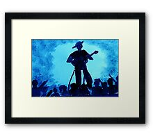 Guitarist with his adoring fans, watercolor Framed Print