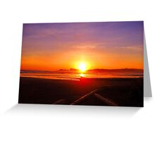 Desolate, driftwood and a magical sunset Greeting Card