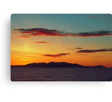 Red Clouds over the Yellow island of Arran Canvas Print
