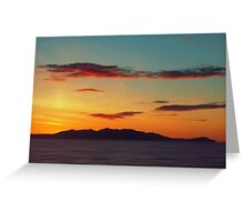 Red Clouds over the Yellow island of Arran Greeting Card