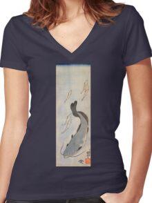 Japanese Print:  Light Blue Fish Women's Fitted V-Neck T-Shirt