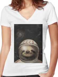 Cosmonaut Sloth Women's Fitted V-Neck T-Shirt