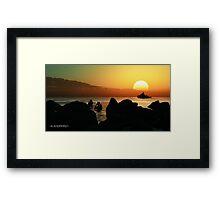 sundown diving. Framed Print