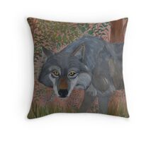 Old Wolf Straggles Through the Forrest Throw Pillow