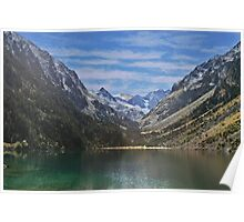 Spain, The Pyrenees Mountains a tranquil mountain lake Poster