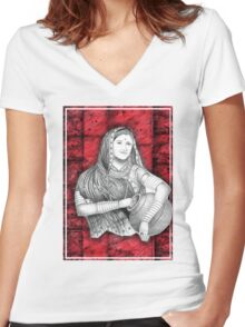 Indian Lady Women's Fitted V-Neck T-Shirt