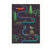 Landscape - Fox and Stream 2 (Pattern) Art Print