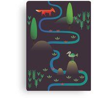 Landscape - Fox and Stream 2 (Pattern) Canvas Print
