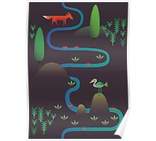 Landscape - Fox and Stream 2 (Pattern) Poster