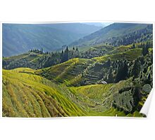 China, Guilin landscape with Ping An Rice Terraces Poster