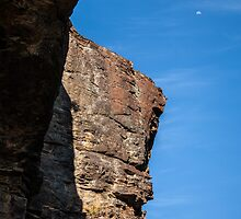 Three Sisters Rock Outcrop with Moon by Tony Theobald