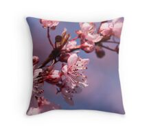 Cherry Blossoms on Blue Throw Pillow