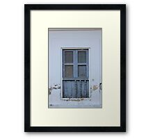 Window With Gray Shutters Framed Print