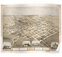 Panoramic Maps Birds eye view of Pella Marion County Iowa 1869 Poster