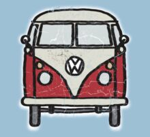 Red White Campervan Worn Well Baby Tee