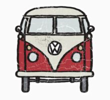 Red White Campervan Worn Well Kids Tee