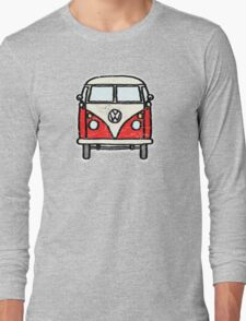 Red White Campervan Worn Well Long Sleeve T-Shirt