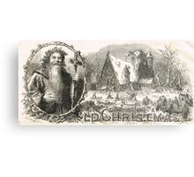 Old Christmas Church Snow scene 1862 Metal Print