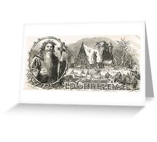 Old Christmas Church Snow scene 1862 Greeting Card