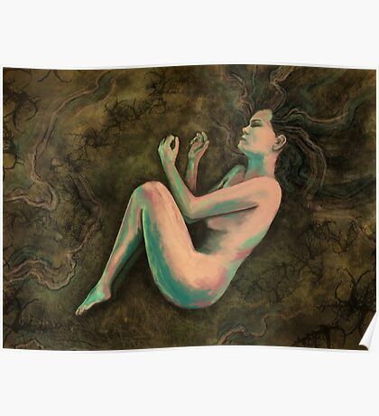 Sleeping Forest Female Figure Digital Painting Poster